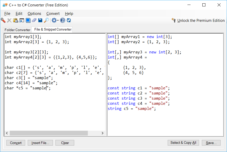 Sample showing C++ to C# array conversion using C++ to C# Converter