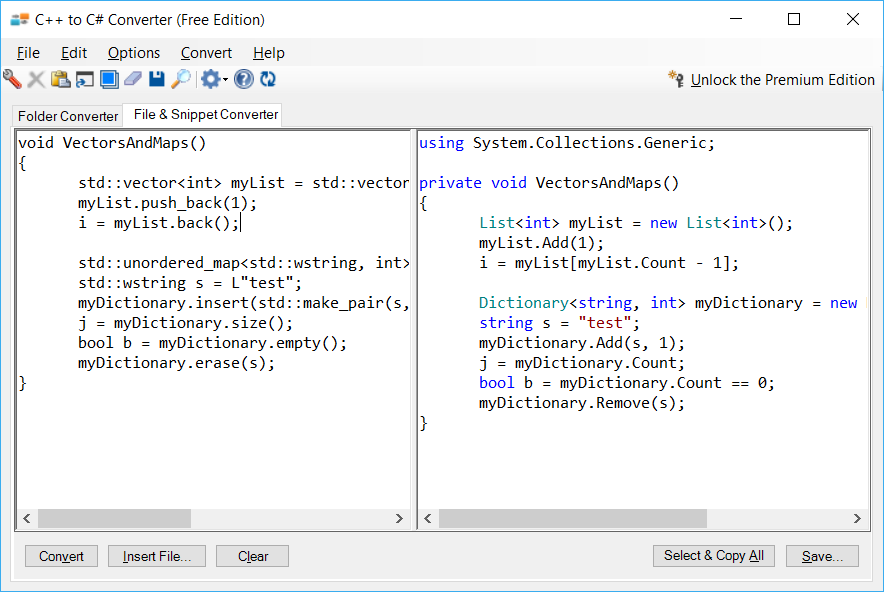 Sample showing C++ to C# collections conversion using C++ to C# Converter