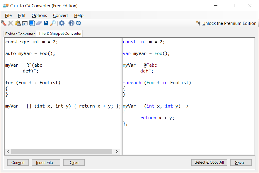 Sample showing conversion of modern C++ features using C++ to C# Converter