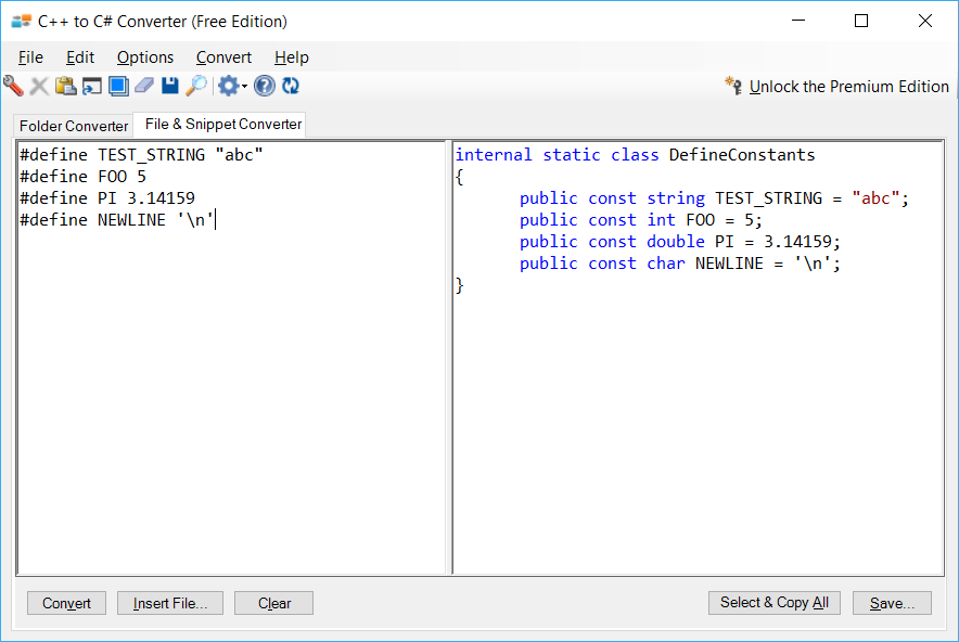 Sample showing C++ to C# #define constants conversion using C++ to C# Converter