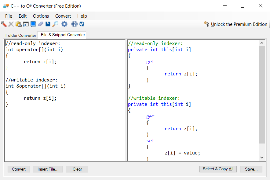 Sample showing C++ to C# indexer conversion using C++ to C# Converter