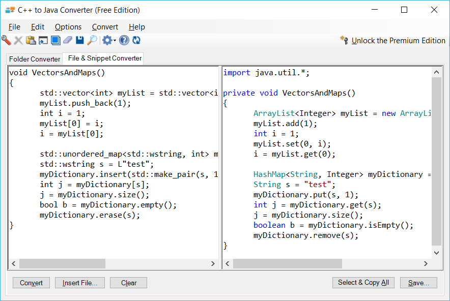 Sample showing C++ to Java collections conversion using C++ to Java Converter