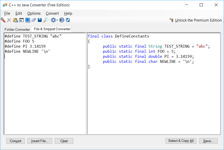 Sample showing C++ to Java #define constants conversion using C++ to Java Converter