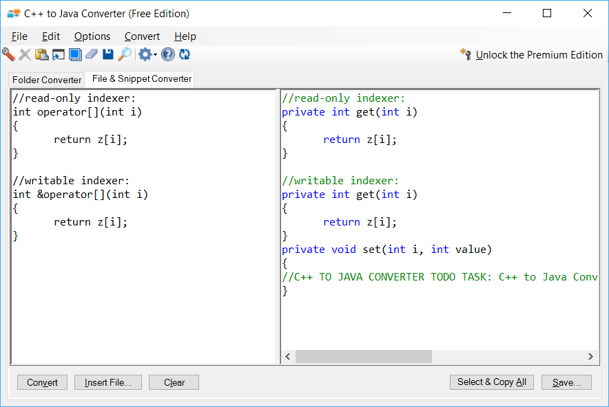 Sample showing C++ to Java indexer conversion using C++ to Java Converter