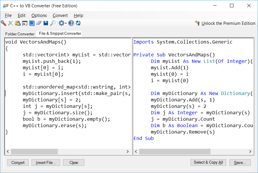 Sample showing C++ to VB.NET collections conversion using C++ to VB Converter