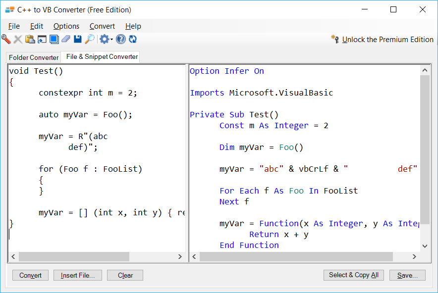 Sample showing conversion of modern C++ features using C++ to VB Converter