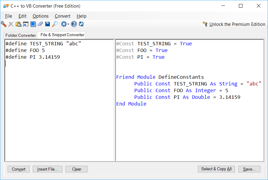 Sample showing C++ to VB.NET #define constants conversion using C++ to VB Converter