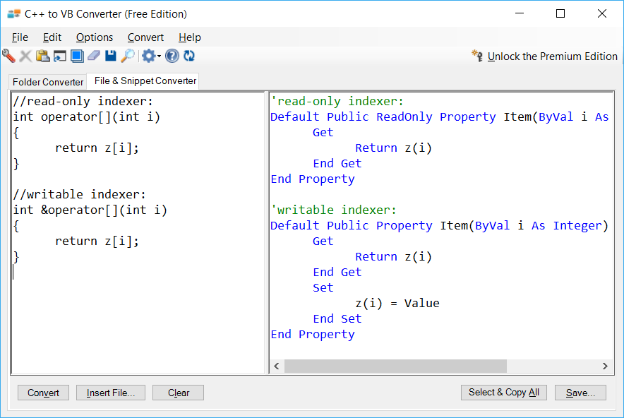 Sample showing C++ to VB.NET indexer conversion using C++ to VB Converter