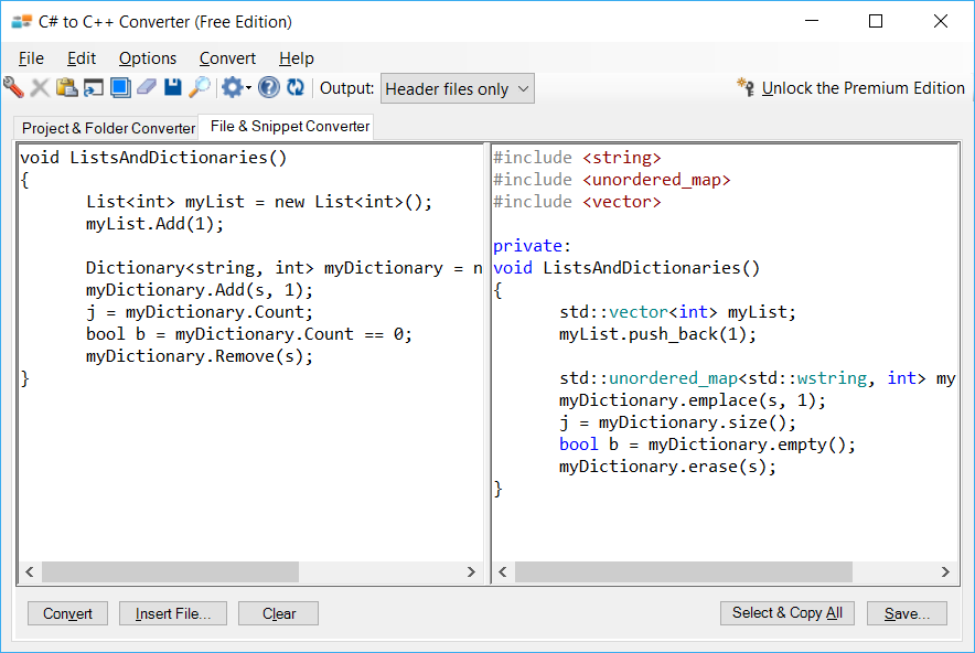 Sample showing C# to C++ collections conversion using C# to C++ Converter