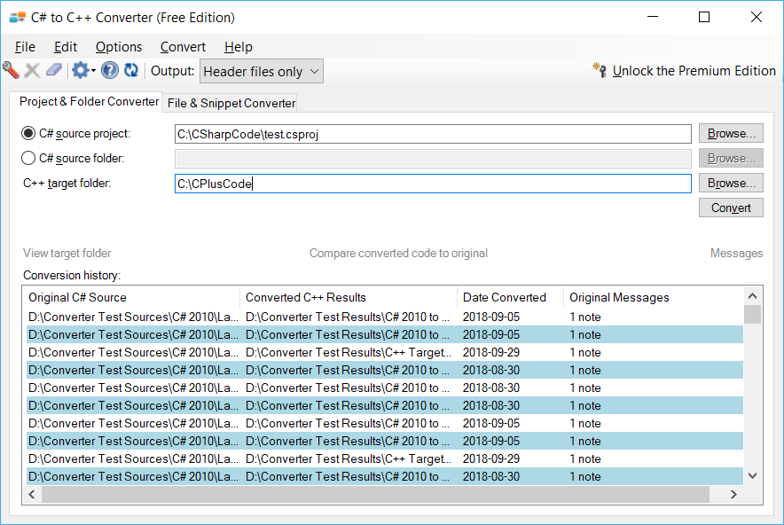 Display of the folder conversion tab of C# to C++ Converter