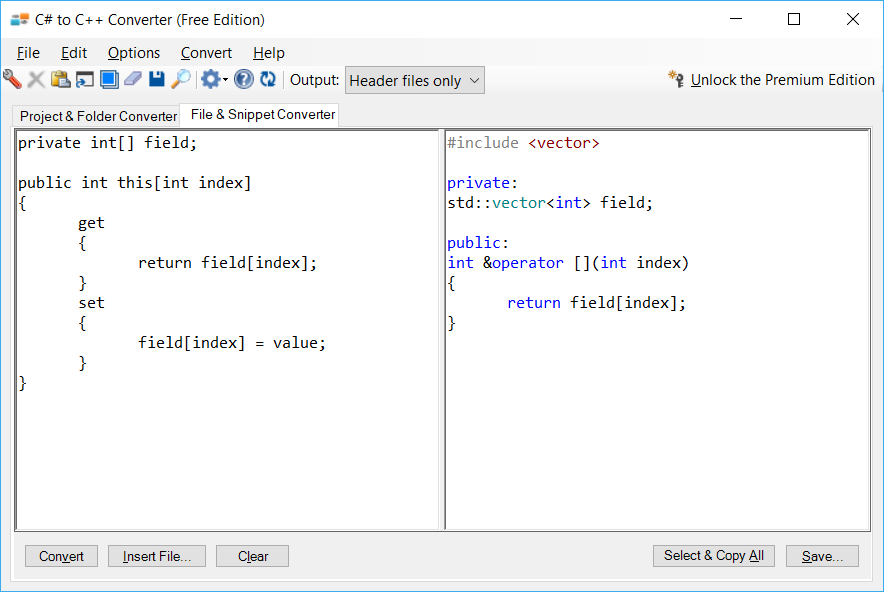 Sample showing C# to C++ indexer conversion using C# to C++ Converter