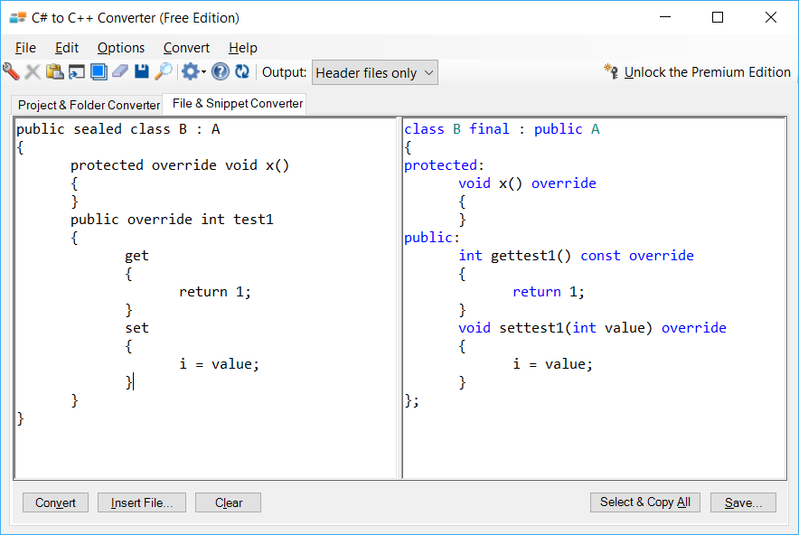 Sample showing C# to C++ inheritance conversion using C# to C++ Converter