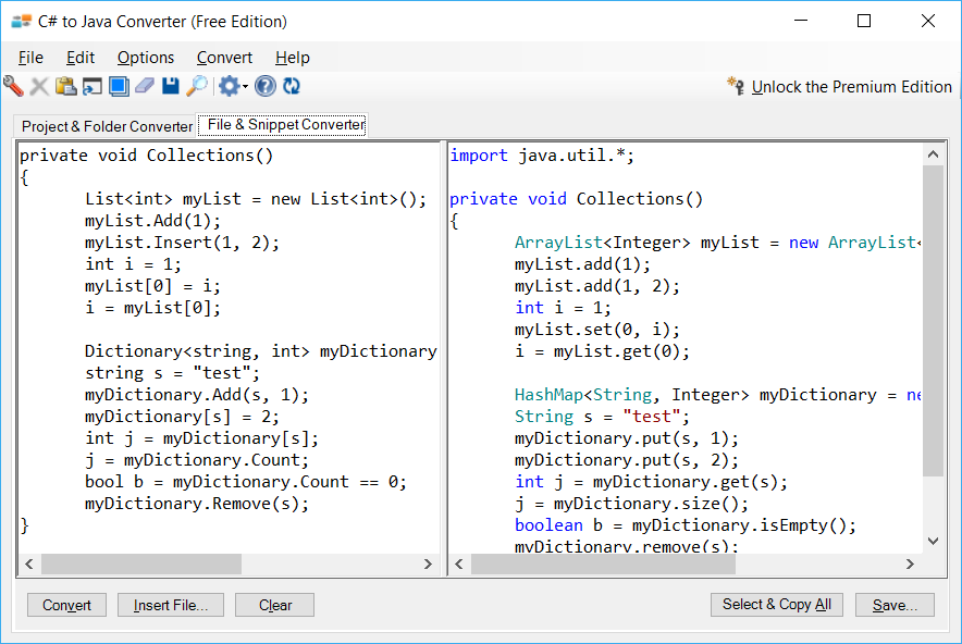 Sample showing C# to Java collections conversion using C# to Java Converter