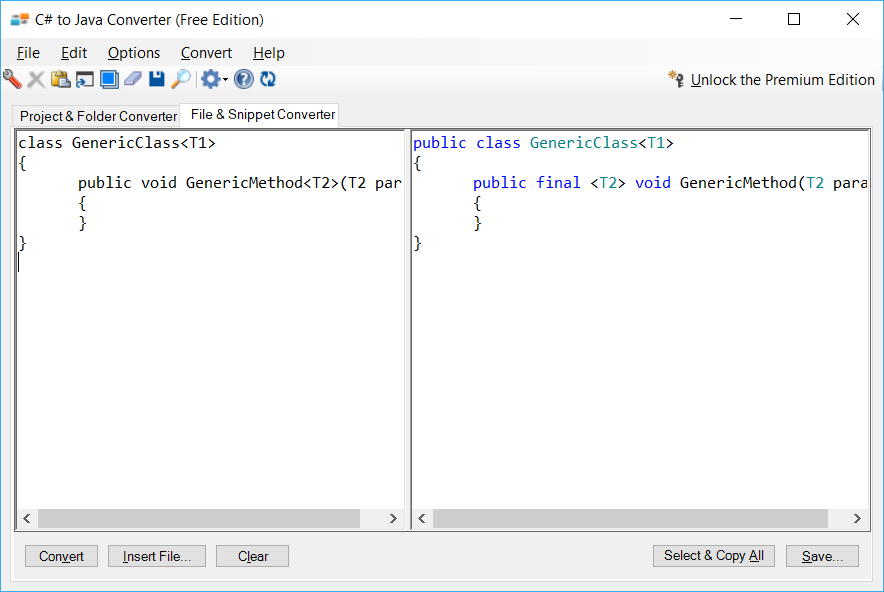 Sample showing C# to Java generics conversion using C# to Java Converter