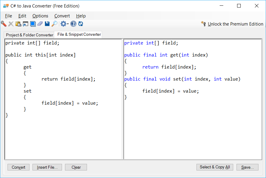 Sample showing C# to Java indexer conversion using C# to Java Converter