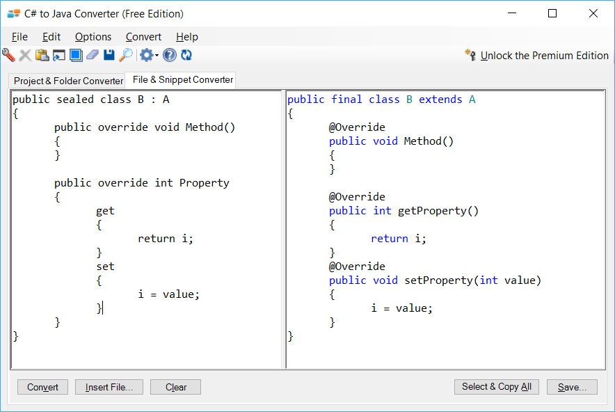 Sample showing C# to Java inheritance conversion using C# to Java Converter