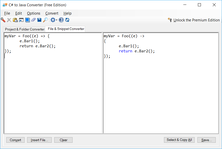 Sample showing C# to Java lambda conversion using C# to Java Converter
