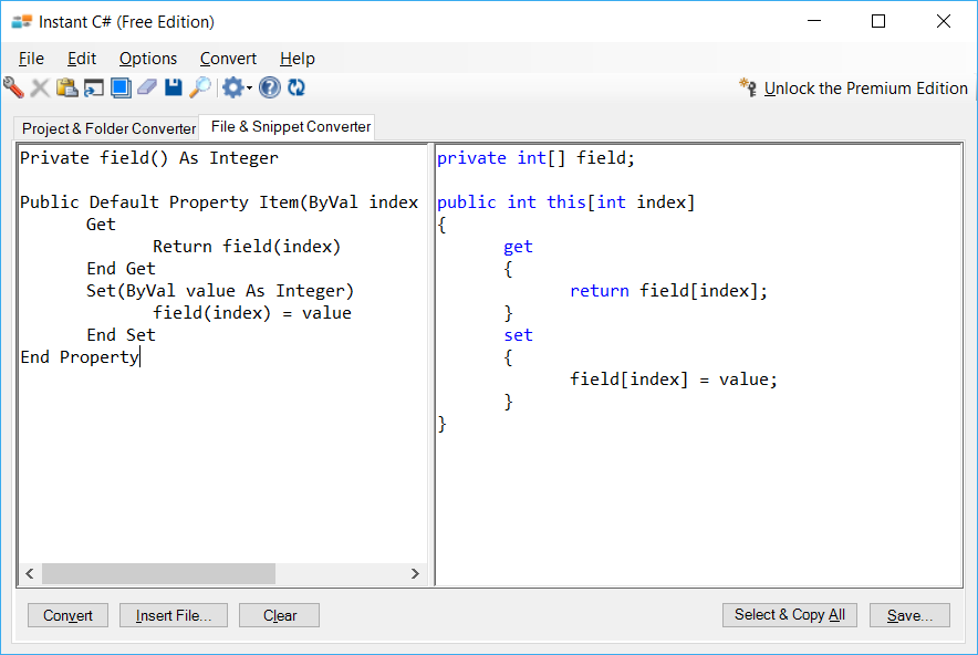 Sample showing VB.NET to C# indexer conversion using Instant C#