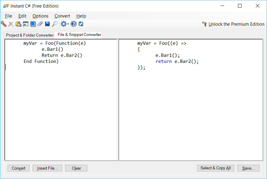 Sample showing VB.NET to C# lambda conversion using Instant C#