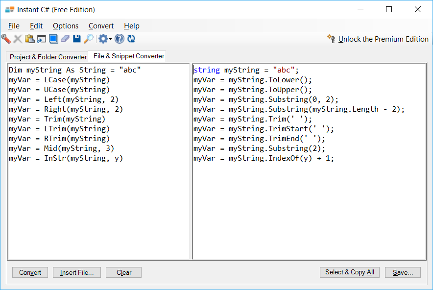 Sample showing conversion of VB legacy string functions to C#