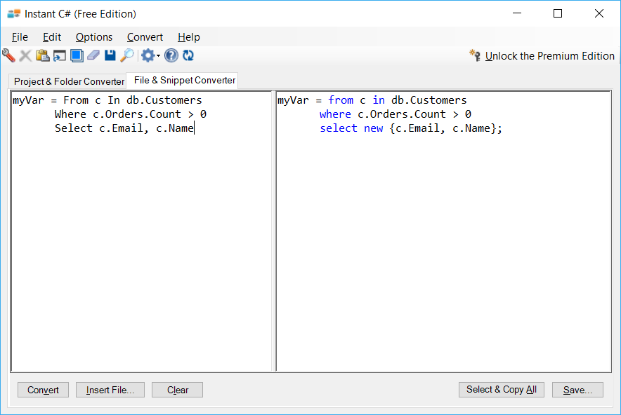 Sample showing VB to C# LINQ conversion using Instant C#