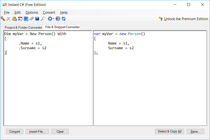 Sample showing VB to C# object initializer conversion