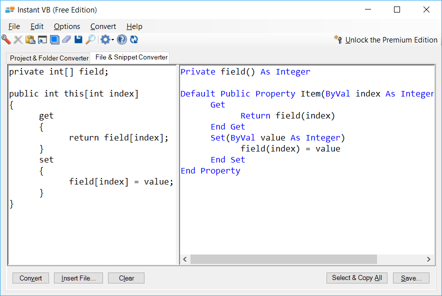 Sample showing C# to VB.NET indexer conversion using Instant VB