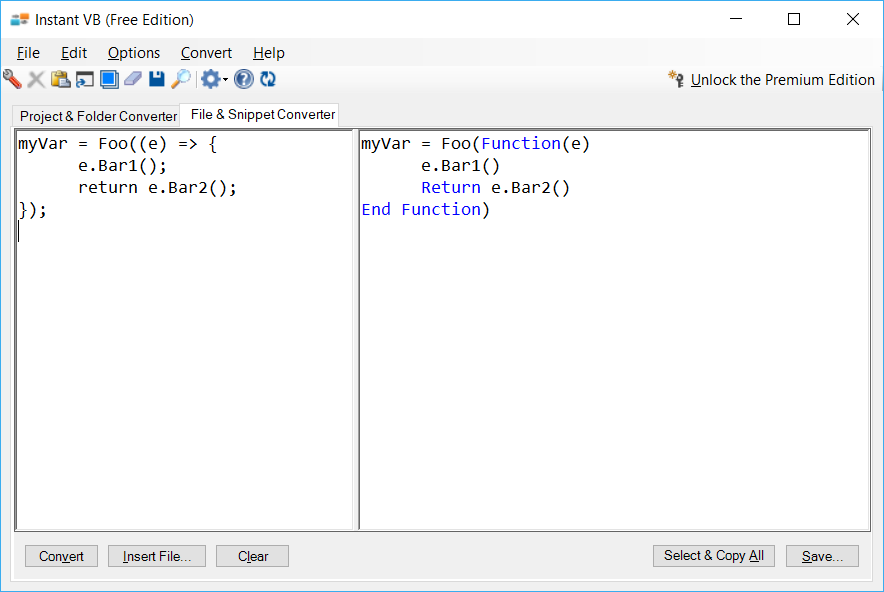 Sample showing C# to VB.NET lambda conversion using Instant VB