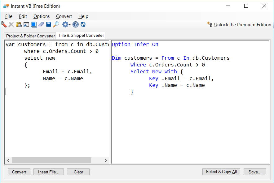 Sample showing C# to VB.NET LINQ conversion using Instant VB