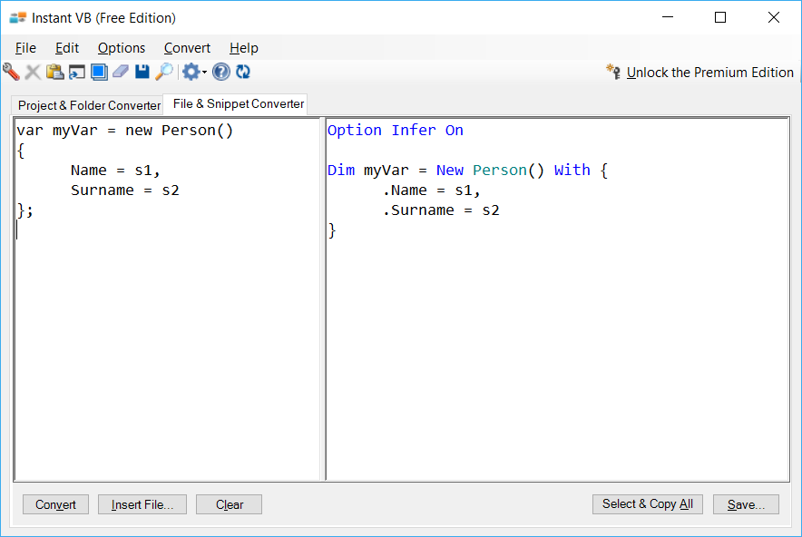 Sample showing C# to VB.NET object initializer conversion