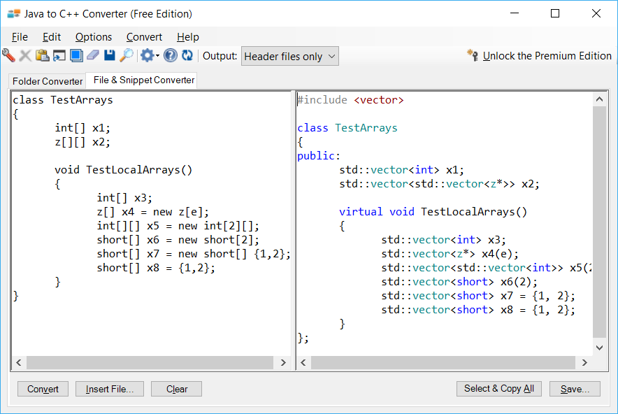 Sample showing Java to C++ arrays conversion using Java to C++ Converter