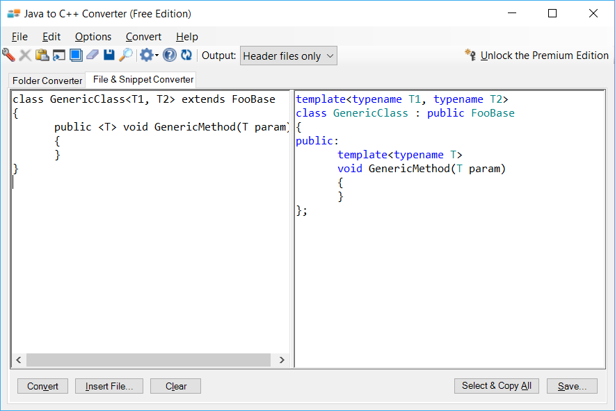Sample showing Java to C++ generics conversion using Java to C++ Converter