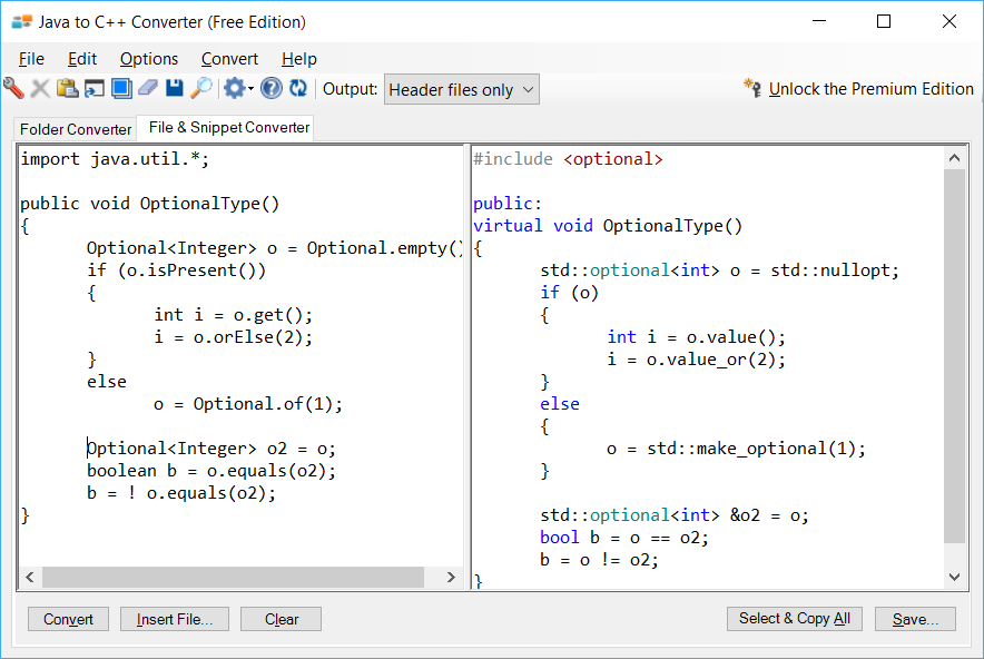 Sample showing Java to C++ optional type conversion using Java to C++ Converter