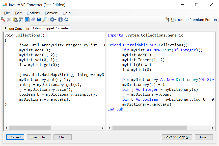 Sample showing Java to VB.NET collections conversion using Java to VB Converter