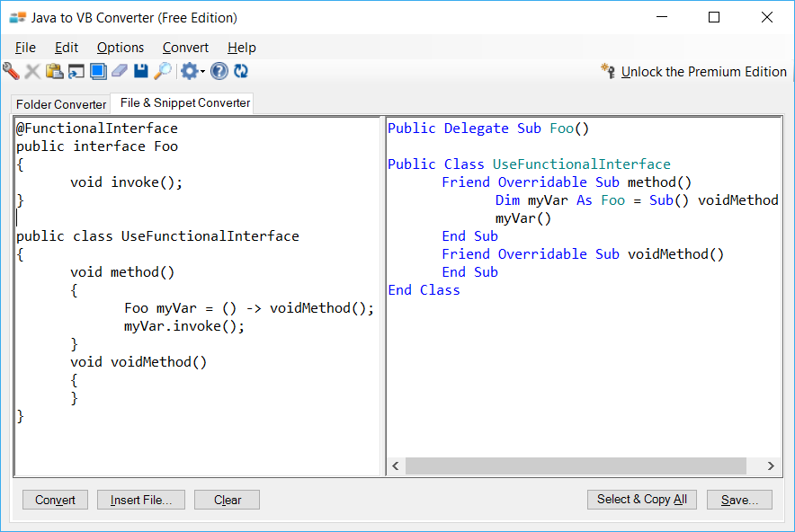 Sample showing Java to VB.NET functional interface conversion using Java to VB Converter