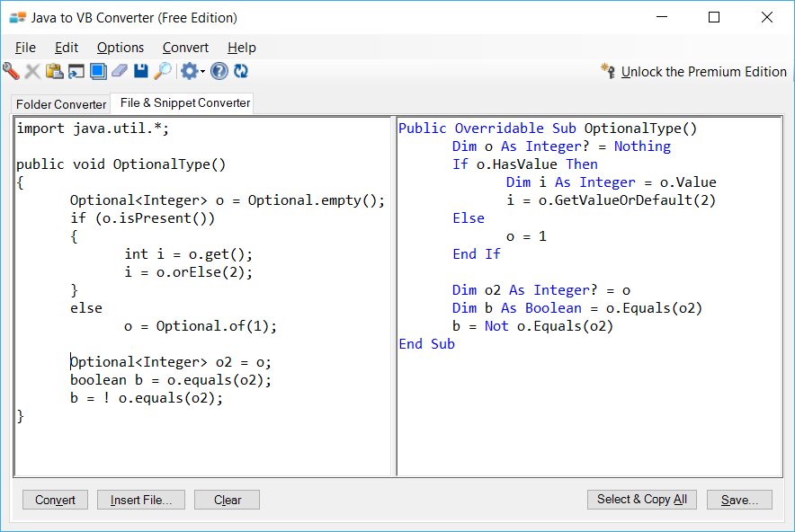 Sample showing Java to VB.NET optional type conversion using Java to VB Converter