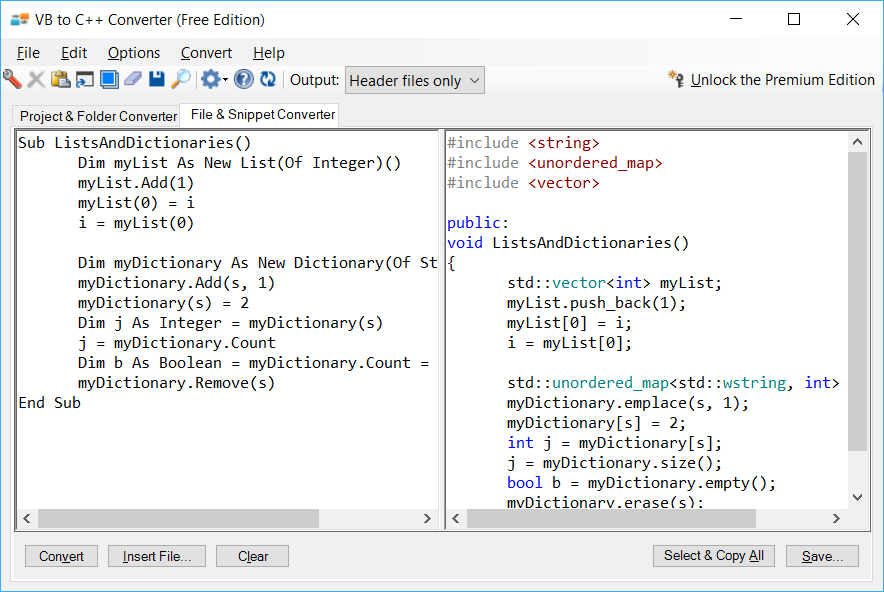 Sample showing VB.NET to C++ collections conversion using VB to C++ Converter