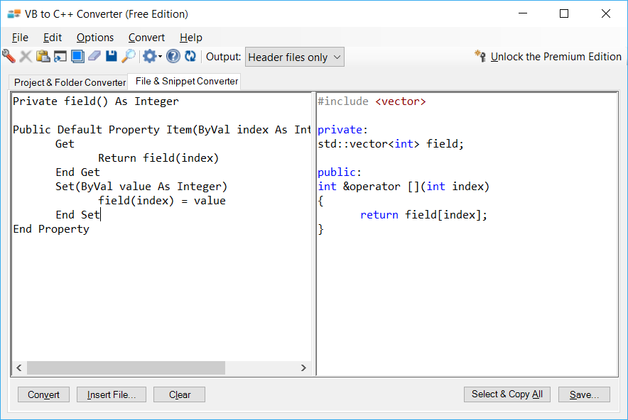 Sample showing VB.NET to C++ indexer conversion using VB to C++ Converter