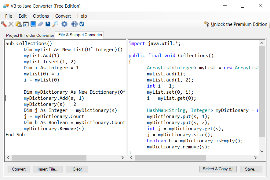 Sample showing VB.NET to Java collections conversion using VB to Java Converter