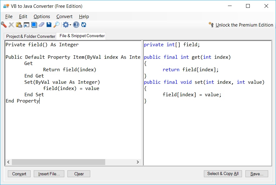 Sample showing VB.NET to Java indexer conversion using VB to Java Converter