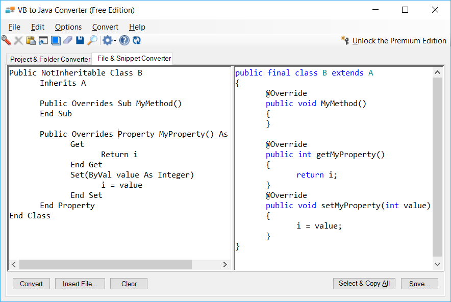 Sample showing VB.NET to Java inheritance conversion using VB to Java Converter