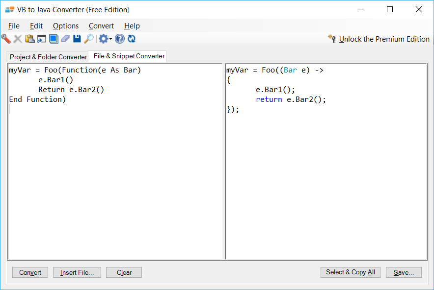 Sample showing VB.NET to Java lambda conversion using VB to Java Converter