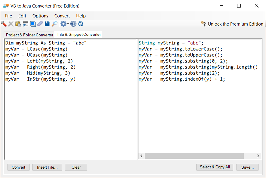 Sample showing conversion of VB.NET legacy string functions to Java